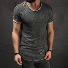 Ripped Men Tee Shirt Slim Fit O Neck Short Sleeve Muscle Casual Tops T Shirts