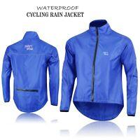Mens Cycling Waterproof Rain Jackets High Visibility Running Top Coat - Blue