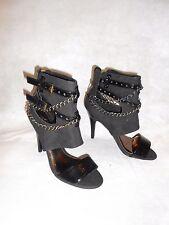 Women Black Booties Cut Out Sandals Nubuck Chain straps Zip Next Size 3,5