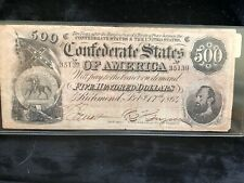 A Pair (2) Of Confederate Currency 1864 Five Hundred Dollars Notes T-64