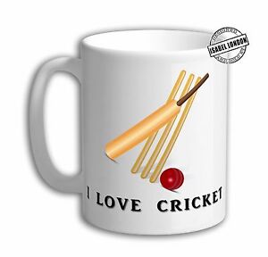 Personalised I Love Cricket Cricketer Mug. Customise with your own text. IL6723