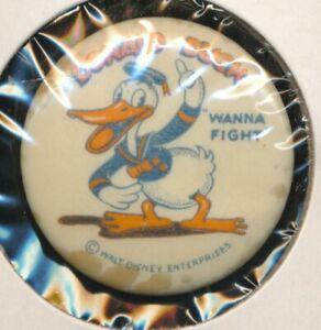 DISNEYANA-Pin Back Button-DONALD DUCK Wanna Fight-DDK 11(K.Kamen label) -1935