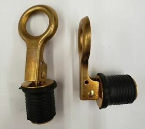 2PK -NEW  1 Inch Brass Snap Lock Drain Plug for Boats - Seachoice part # 18821