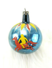 Vintage Poland Horse Circus Carousel Hand Painted Glass Christmas Ornament j