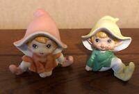 Vintage Home Interior Pixie Elves Figurines Set of 2 HOMCO Gnomes/Waifs 5213