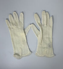 Vintage White Lacy 100% Nylon Ladies Gloves, Elaborate, Made In Japan, Very Nice