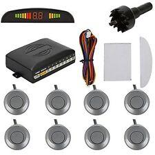 Car LED Display 8 Parking Sensors Rear Reversing Backup Radar Alarm System Gray