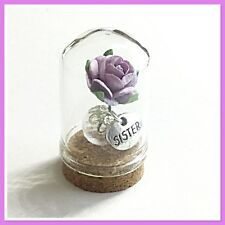 DOME.- SISTER  -  BEAUTIFUL MINIATURE GLASS DOME KEEPSAKE GIFT  (3.5cms)