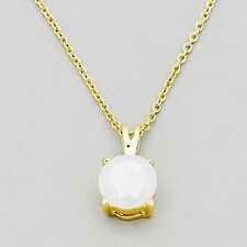 3 ct. Simulated Opal Solitaire Pendant Necklace ~ 14k Yellow Gold overlay