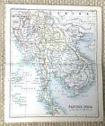 1890 Antique Map of Farther India Cambodia Siam Burma Ultraindia 19th Century