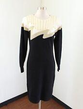 Vtg 90s Black Cream Gold Sweater Dress Beaded Size M Angora Rabbit Hair Retro