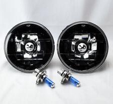 "5.75"" 5 3/4 Round H4 Black Chrome Glass Headlight Conversion w/ Bulbs Plymouth"