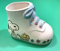 Vintage Peanuts Snoopy Baby Shower Ceramic Boot Shoe Bootie Planter Boy 1965 !