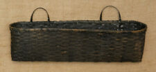New! Primitive Country Rustic Large Long Oval Distressed Black French Basket