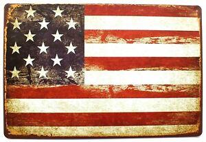 American Flag Metal Tin Wall Sign Plaque Door 30 x 20 cm