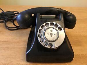 vintage GEC BT dull black Bakelite 1950s telephone rotary dial original cord