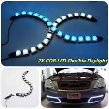 2XCar COB LED Flexible Daylight DRL Blue Turn Signal Light Lamp Bright Universal