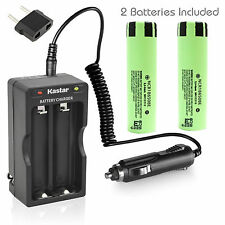 Charger W/Car charger & 2 x Panasonic NCR18650BE Battery 3.7V 3200mAh Flat Top