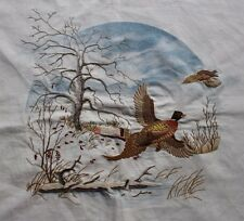 Pheasant Crewel Embroidery Completed Finished Winter Scene Snow Tree Preprinted