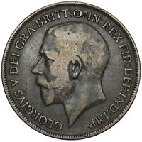 1918 H PENNY - GEORGE V BRITISH BRONZE COIN