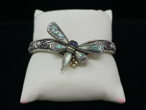 BARBARA BIXBY STERLING SILVER DRAGONFLY HINGED BRACELET CARVED ABALONE AND GEMS