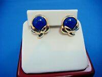 BEAUTIFUL 14K YELLOW GOLD CLIP EARRINGS WITH BLUE LAPIS LAZULI, 12.6 GRAMS