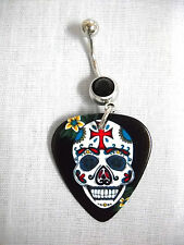NEW PAISLEY STYLE SUGAR SKULL PRINTED GUITAR PICK BLACK CZ BELLY BAR NAVEL RING