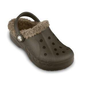 Baya Lined Espresso Brown/Khaki  Crocs/Slippers  Little Boys size  Size 10/11