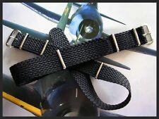 18mm Black Braided Tropic NATO g10 Nylon RAF watch band strap MoD Bond IW SUISSE
