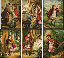 Vintage inspired little red riding hood cards tag set of 6 with envelopes