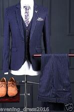 New Arrival 3 Piece Navy Blue Stripe Groom Tuxedos Men Wedding Prom Dinner Suits