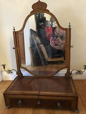 Regency Mirror Dressing Table Drawer Inlaid Wood Antique Birdseye Maple Candle