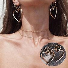 1 Pair Women Hoop Gold Double Heart Earrings Dangle Hollow Ear Studs Jewelry Hot