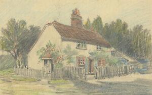 George William Collins (1863-1949) - Crayon, Cottage with Rose Garden