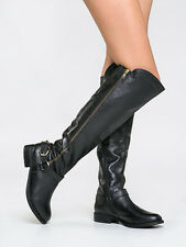 STEVE MADDEN $179 BLACK LEATHER SKIPPUR TALL OVER KNEE BOOTS 6