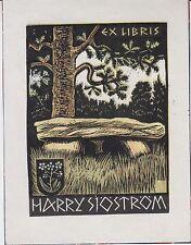 Ex-libris Harry SJÖSTRÖM gravé sur bois par Hans-Michael BUNGTER (1896-1969).