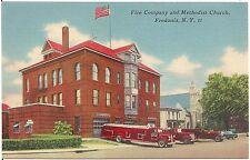 Fire Company and Methodist Church in Fredonia NY Postcard