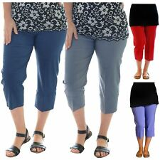 Ladies Plus Size 3/4 Length Cropped Elasticated Stretchy Capri Pants Shorts