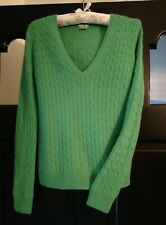 J.Crew 100% Cashmere CLASSIC GREEN Luxurious Cableknit Sweater Sz S Short-Petite