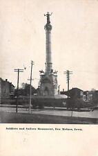 Des Moines Iowa~Civil War Soldiers & Sailors Monument~Close Up~Houses~1910 B&W