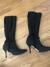 Manolo Blahnik Black Suede Shearling Pointed Toe Knee High Boots Size 36 6