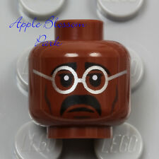 NEW Lego Male Brown Dark FLESH MINIFIG HEAD Eye Glasses Black Moustache Man Hair