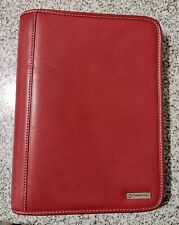 Franklin Covey Classic 7 Ring Planner Binder Organizer Red Faux Leather Zipper