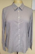 SPORTSCRAFT Grey White Striped Long Sleeve Button Front Business Work Shirt 16