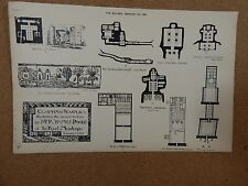 Antique Architects print Eqyptian temples Royal Academy Lecture The builder 1884