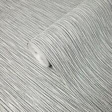 Textured Wallpaper roll gray white black silver metallic faux fabric stria lines