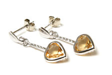 9ct White Gold Citrine Heart Dangly Long Drop Earrings Made in UK Gift Boxed