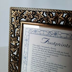 Vintage Cast Iron Brushed Gold Tone Picture Frame With Floral  For 5 x 7 Photo