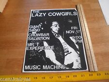 Lazy Cowgirls Giant Sand Mr. T Experi 1980s ORIGINAL Punk Rock concert poster CA