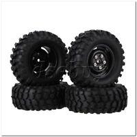4x Black Plastic Wheel Rims w/Screws Rubber Tires fit RC 1:10 Class Rock Crawler